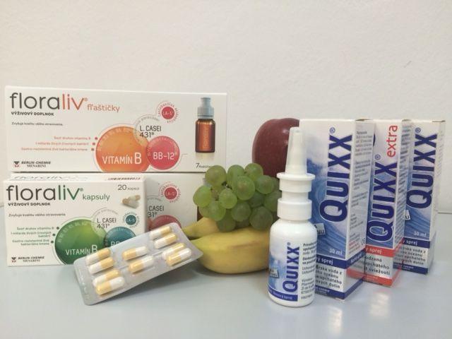 QUIXX nosový sprej a FLORALIV výživový doplnok