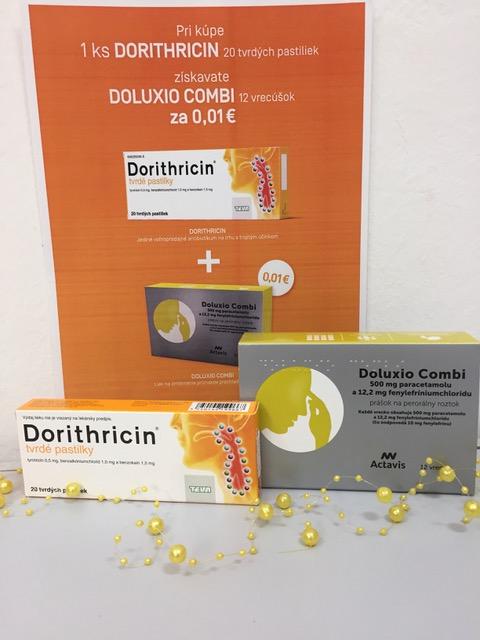 Akcia Dorithricin a Doluxio Combi